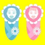 Noworodkowie od szpitala w kopercie z pacyfikatorem i Dziewczyna i chłopiec ilustracji