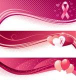 Nowotwór piersi świadomości sztandary Zdjęcia Royalty Free
