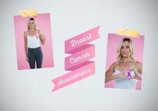 Nowotwór Piersi świadomości tekst i nowotwór piersi świadomości fotografii kolaż Zdjęcie Stock