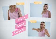 Nowotwór Piersi świadomości tekst i nowotwór piersi świadomości fotografii kolaż Zdjęcia Royalty Free