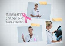 Nowotwór Piersi świadomości tekst i nowotwór piersi świadomości fotografii kolaż z lekarką Fotografia Royalty Free