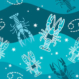 Nowotwór - zodiaka bezszwowy wzór Fotografia Royalty Free