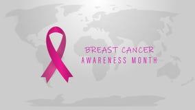 Nowotworu piersi Października świadomości miesiąc Światowy nowotworu dzień Jaskrawy Różowy świadomość faborek royalty ilustracja