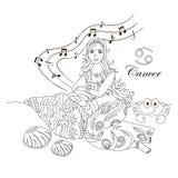 Nowotworu zodiaka znak jako piękna dziewczyna ilustracji