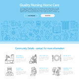 Nowożytna wektor linii ikona senior i starsze osoby dbamy Karmiącego domu elementy - niepełnosprawni, medycyny, szpitala wezwania Fotografia Stock