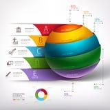 Nowożytnego okręgu 3d schody diagrama balowy biznes. Obrazy Stock