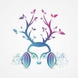 Nowożytni abstrakcjonistyczni hełmofony kuli ziemskiej hełmofonów muzyczny symbol wektor Obrazy Royalty Free
