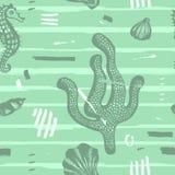 Nowożytny bezszwowy morze wzór Abstrakcjonistyczna ręka rysujący tło z szczotkarskimi uderzeniami Morska tekstura z koralem, seas Obrazy Stock