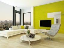 Nowożytny żywy izbowy wnętrze z zieleni ścianą Obrazy Royalty Free