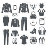 Nowożytnych kobiet ubrań Czarne ikony Zdjęcie Stock