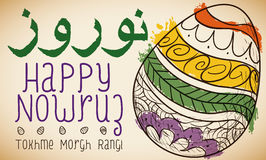 Nowruz Design with Hand Drawn Painted Eggs, Vector Illustration. Poster with hand drawn design of painted eggs -or Tokhme Morgh Rangi- that represents the Stock Image