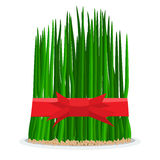 Nowruz holiday grass semeni on plate with red ribbon. Flat color style design vector Royalty Free Stock Photo