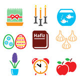 Nowruz - Persian New Year icons set - 21 March Royalty Free Stock Photo