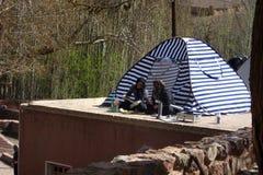 Nowruz-Pilger in Abyaneh, der Iran Lizenzfreie Stockfotografie