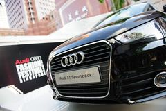 Nowy Audi A1 hatchback na pokazie przy Audi mody festiwalem 2012 fotografia royalty free