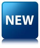 Nowy błękita kwadrata guzik Obrazy Royalty Free