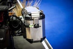 Nowy boczny skrzynki fitment zestaw dręczy na motocyklu Fotografia Stock