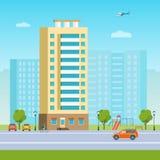 Nowy budynek mieszkaniowy i dziecka ` s boisko przy residental terenem Wektorowa mieszkanie stylu ilustracja Zdjęcia Stock