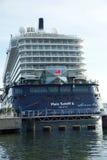 Nowy chorągwiany statku ` Mein Schiff 6 ` od Tui rejsów robi mię najpierw wezwaniu port Kiel Zdjęcie Royalty Free