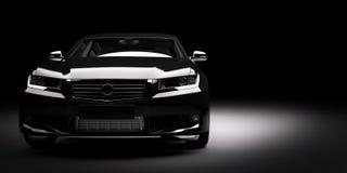 Nowy czarny kruszcowy sedanu samochód w świetle reflektorów Nowożytny desing, brandless zdjęcia stock