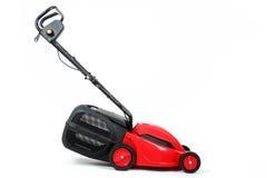 Nowy czerwony lawnmower na białym tle Fotografia Stock