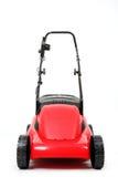 Nowy czerwony lawnmower na białym tle Zdjęcia Royalty Free