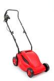 Nowy czerwony lawnmower na białym tle Obrazy Royalty Free