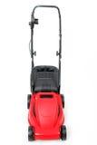 Nowy czerwony lawnmower na białym tle Zdjęcia Stock
