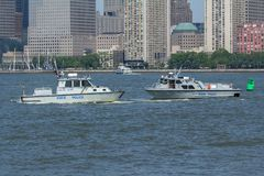 Nowy - dżersejowego stanu Milicyjne łodzie Fotografia Royalty Free