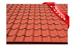 Nowy dach zakrywający z czerwień betonu dekarstwem Obrazy Stock