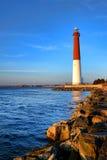 Nowy - dżersejowa brzeg Barnegat latarnia morska i wybrzeże Fotografia Royalty Free