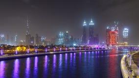 Nowy Dubaj wody kanał z widokiem na miasto linii horyzontu timelapse, Zjednoczone Emiraty Arabskie zbiory wideo