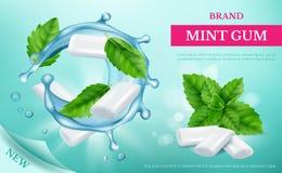 Nowy dziąsło Reklamowy plakat z świeżymi cukierkami i liściem nowy wektorowy realistyczny szablon royalty ilustracja