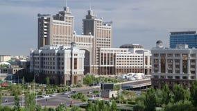 Nowy dzielnicy biznesu timelapse od dachu w kapitale Kazachstan w Astana zdjęcie wideo