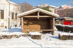 Nowy gazebo po środku śnieżystego Pomorie, Bułgaria, zima 2017 Obraz Stock