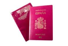 Nowy hiszpański paszport nad stary wydychany jeden zdjęcie stock
