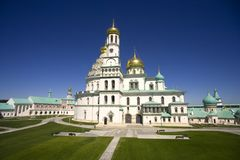 nowy Jerozolimski monaster jest monasterem Złote kopuły ortodoksa krzyż dzwonkowy wierza święte miejsce obrazy royalty free