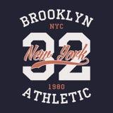 Nowy Jork Brooklyn bawi się odzież Typografia emblemat dla koszulki Roczników ubrań druk, sportowy numerowy projekt wektor Fotografia Stock