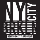 Nowy Jork, Brooklyn nowożytna typografia dla koszulka druku Koszulek grafika royalty ilustracja