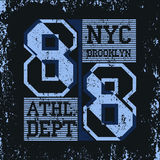 Nowy Jork Brooklyn sporta odzieży typografii emblemat, koszulka royalty ilustracja