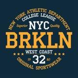 Nowy Jork, Brooklyn - typografia dla projekta odziewa, sportowa koszulka Grafika dla druku produktu, odzież wektor ilustracja wektor