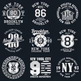 Nowy Jork, Brooklyn typografia Set sportowy druk dla koszulka projekta Grafika dla sport odzieży Kolekcja trójnik koszula odznaka ilustracja wektor