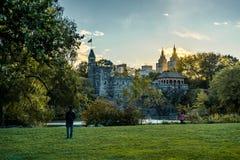 Nowy Jork central park z linia horyzontu widoku zmierzchu drzewami chmurnieje obrazy stock