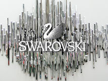 Nowy Jork, Czerwiec 1 2011: Swarovski łabędzi logo na w i symbol Fotografia Royalty Free