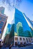 Nowy Jork drapaczy chmur widok Oddolny zdjęcie stock