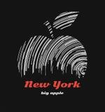 Nowy Jork dużej jabłczanej koszulki graficzny projekt z miasto linią horyzontu Zdjęcie Royalty Free