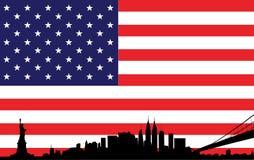 Nowy Jork linii horyzontu wektor na usa flaga Zdjęcie Royalty Free