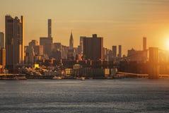 Nowy Jork linii horyzontu wschód słońca Obraz Royalty Free