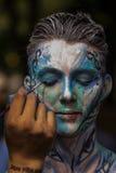 NOWY JORK, LIPIEC - 26: Nadzy modele, artyści biorą Miasto Nowy Jork ulicy podczas pierwszy oficjalnego ciało obrazu wydarzenia Fotografia Stock