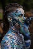 NOWY JORK, LIPIEC - 26: Nadzy modele, artyści biorą Miasto Nowy Jork ulicy podczas pierwszy oficjalnego ciało obrazu wydarzenia Obrazy Royalty Free